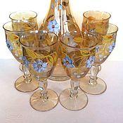 Винтаж handmade. Livemaster - original item wine set decanter glasses bohemian. Handmade.