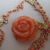 Украшения handmade. Livemaster - original item With pendant, long necklace. Rhodonite pendant