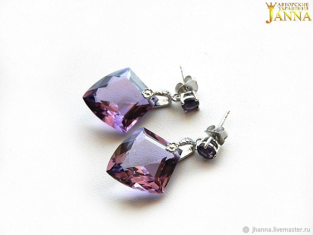 Amethyst 'Viola' pendant earrings with purple amethysts, Stud earrings, Volgograd,  Фото №1