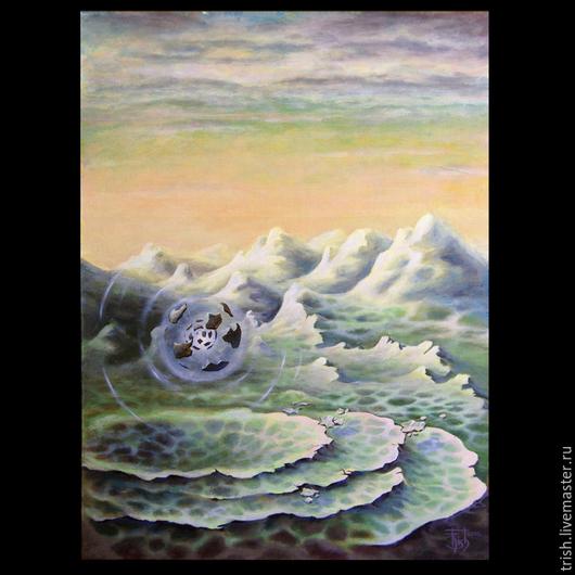 """Символизм ручной работы. Ярмарка Мастеров - ручная работа. Купить Системообразующая картина """"Анти-гравитация"""". Handmade. Салатовый, зеленый, руны"""