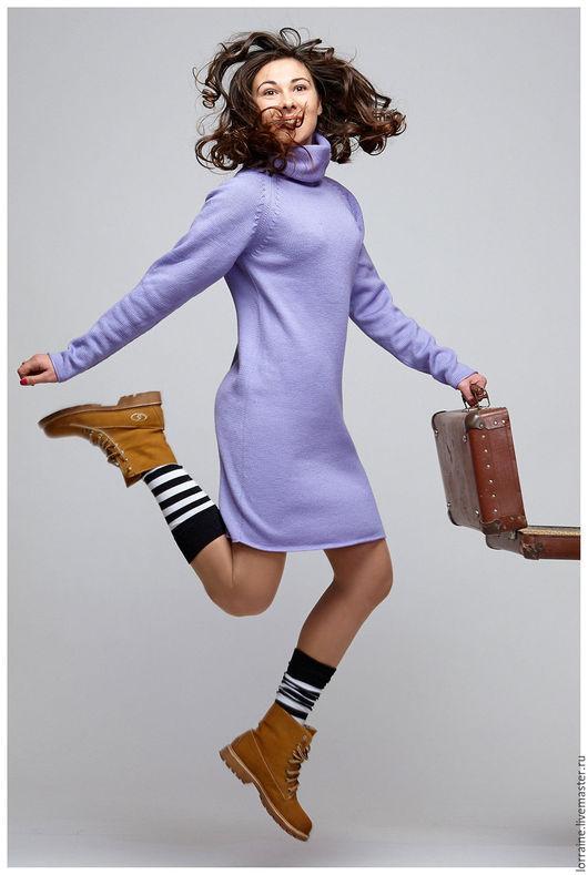 сиреневый.однотонный.платье вязаное.вязаное платье.шерстяное платье.платье шерстяное.трикотажное платье.платье трикотажное.платье из шерсти.шерсть 100%.100% шерсть.100% ручная работа.платье женское