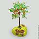 Дерево из хризолита на расписном сердечке `Радость души`