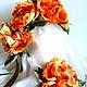 """Цветы ручной работы. Ярмарка Мастеров - ручная работа. Купить Комплект украшений """"Медный цветок"""". Handmade. Рыжий, пионовидная роза"""