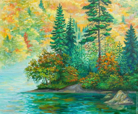 Лариса Хамукова `Осень в лесу`. Холст. Масло.