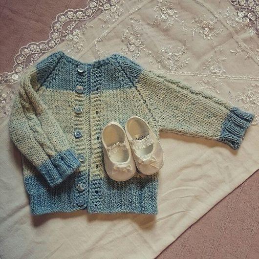 Одежда для мальчиков, ручной работы. Ярмарка Мастеров - ручная работа. Купить Кардиган для новорожденного. Handmade. Шерсть, вязание на заказ