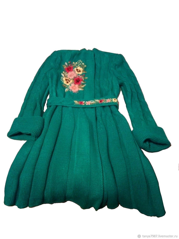 Пальто:Вязанное. Объёмная вышивка цветами на одежде, на заказ, Верхняя одежда детская, Москва,  Фото №1