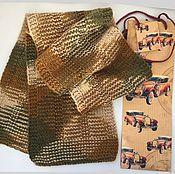 Шарфы ручной работы. Ярмарка Мастеров - ручная работа Шарф мужской коричневый бежевый. Handmade.