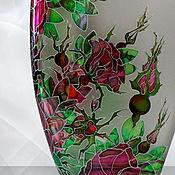 Посуда handmade. Livemaster - original item A bottle of Rose, stained glass painting. Handmade.