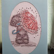 Открытки ручной работы. Ярмарка Мастеров - ручная работа Открытка с вышивкой Мишка Тедди. Handmade.