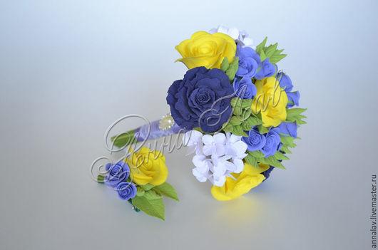 Свадебные цветы ручной работы. Ярмарка Мастеров - ручная работа. Купить Букет невесты с цветам из полимерной глины. Handmade. Разноцветный