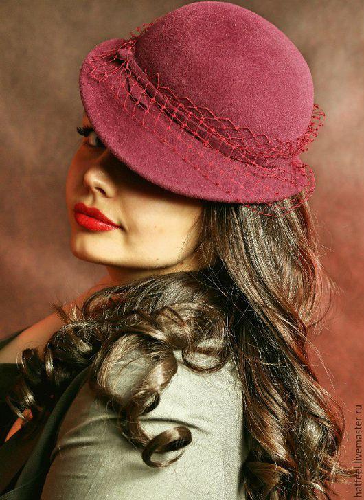 """Шляпы ручной работы. Ярмарка Мастеров - ручная работа. Купить Шляпка в ретро стиле """"Betsy"""". Handmade. Бордовый, винтажная шляпка"""