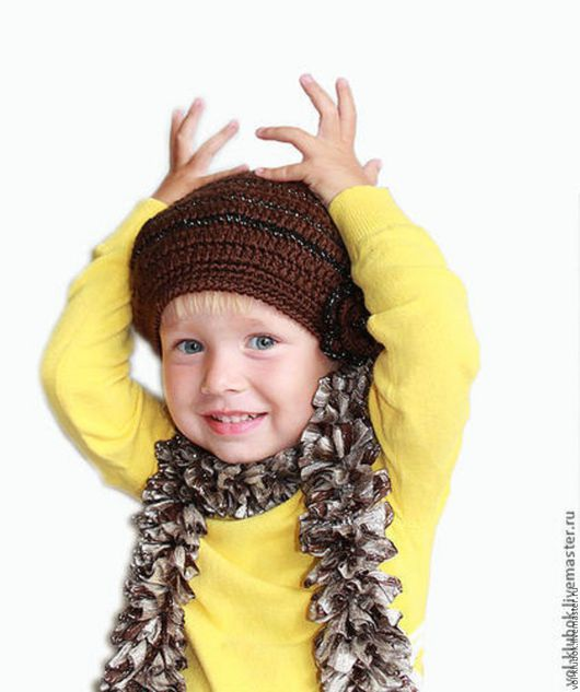 """Шапки и шарфы ручной работы. Ярмарка Мастеров - ручная работа. Купить Комплект для девочки """"Шоколад"""" берет и шарф. Handmade. Берет"""