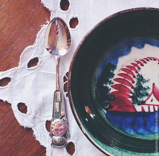 Серебряная ложка `Мишка` с часиками