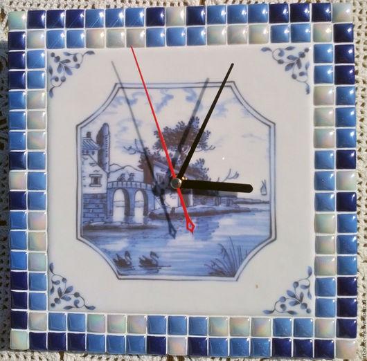 """Часы для дома ручной работы. Ярмарка Мастеров - ручная работа. Купить Часы с мозаикой """"Английский делфт"""". Handmade. часы с мозаикой"""