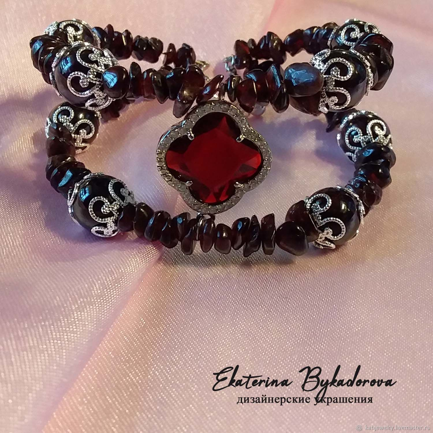Three-dimensional garnet bracelet, Bead bracelet, Rostov-on-Don,  Фото №1