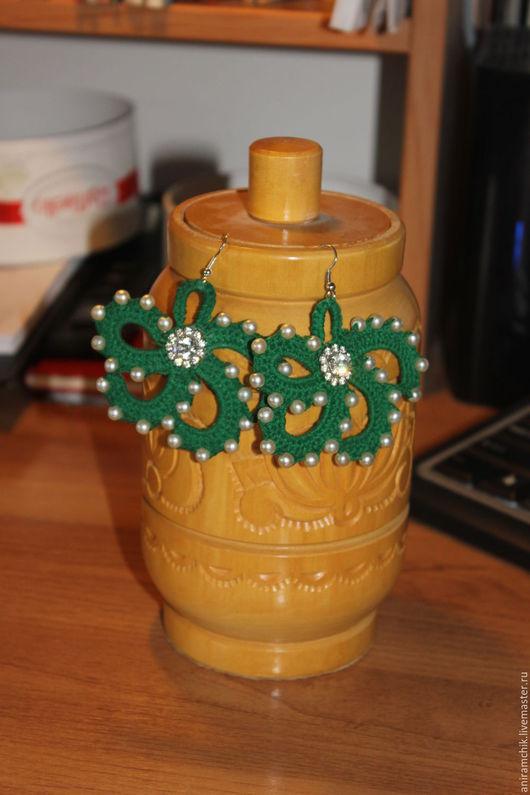 Серьги ручной работы. Ярмарка Мастеров - ручная работа. Купить Вязаные серьги-цветы. Handmade. Тёмно-зелёный, серьги на заказ