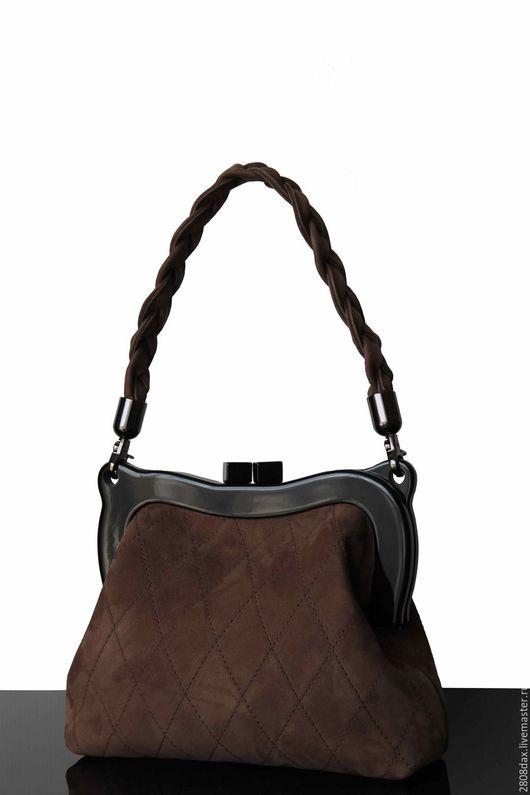 Женские сумки ручной работы. Ярмарка Мастеров - ручная работа. Купить Замшевая сумочка, коричневая сумка, сумка на фермуаре. Handmade.