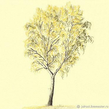 Картины и панно ручной работы. Ярмарка Мастеров - ручная работа Картина Березка осенью, рисунок береза желтый охра осень. Handmade.