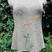 Одежда ручной работы. Ярмарка Мастеров - ручная работа Топ льняной Лесная полянка. Handmade.