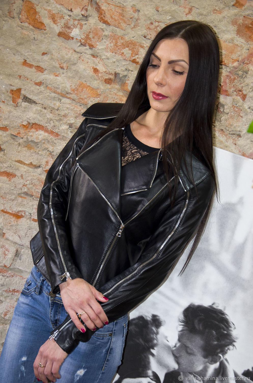 """Верхняя одежда ручной работы. Ярмарка Мастеров - ручная работа. Купить Куртка """"Айза"""". Handmade. Кожа, черная кожа"""