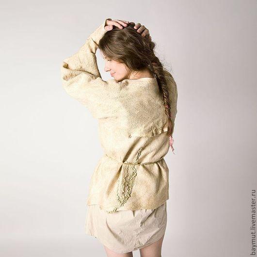 Пиджаки, жакеты ручной работы. Ярмарка Мастеров - ручная работа. Купить Валяный жакет. Бежевое кимоно.. Handmade. Мокрое валяние