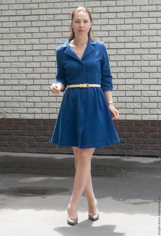 Платье из фактурной ткани, платье рубашка, платье летнее, платье осеннее, платье на пуговицах, платье на заказ, платье по индивидуальным меркам, платье на осень, стильное платье, синее платье