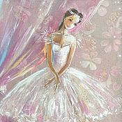 Картины и панно ручной работы. Ярмарка Мастеров - ручная работа Маленькая Балерина -картина на шелке. Handmade.