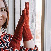 Аксессуары handmade. Livemaster - original item Women`s knitted gloves in red color.. Handmade.