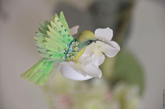 """Украшения для цветов ручной работы. Ярмарка Мастеров - ручная работа. Купить Колибри-бабочка """"лайм"""". Handmade. Салатовый, цветы"""