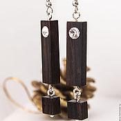 Украшения handmade. Livemaster - original item Wooden earrings made of Blackwood with cubic Zirconia. Handmade.