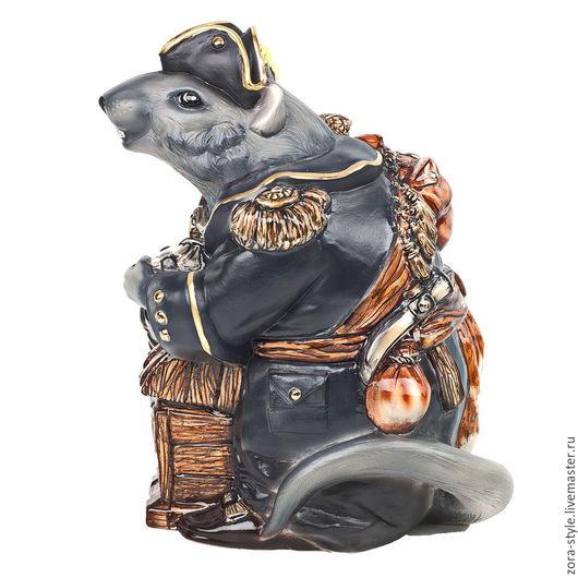 """Персональные подарки ручной работы. Ярмарка Мастеров - ручная работа. Купить Керамическая статуэтка """"Крыс Джек Воробей"""".. Handmade. Комбинированный"""