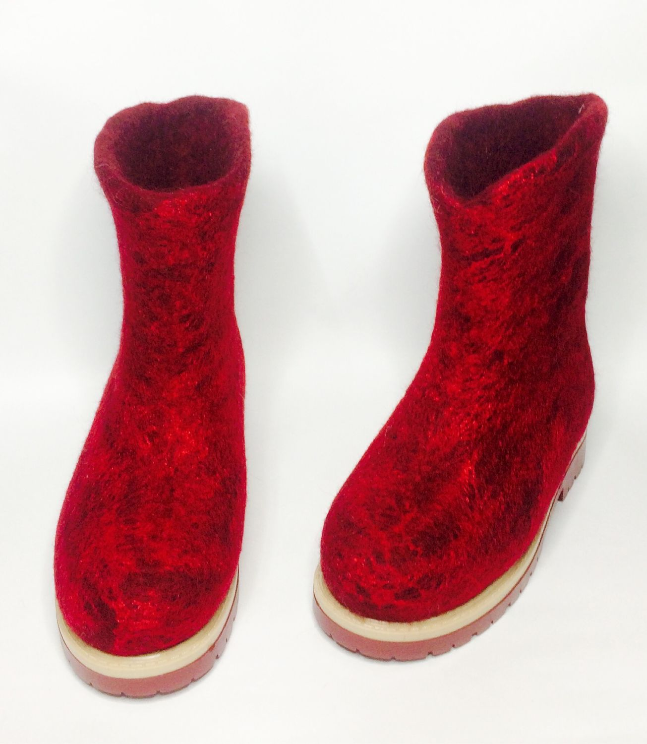 Boots on the sole - red and maroon, Felt boots, Ramenskoye,  Фото №1