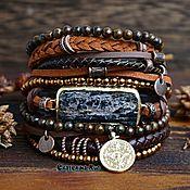 Украшения handmade. Livemaster - original item Boho-chic bracelet with bronzite and hematite