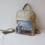 Сумки и аксессуары handmade. Livemaster - original item Leather backpack with a portrait on a photo to order for Katyusha.. Handmade.