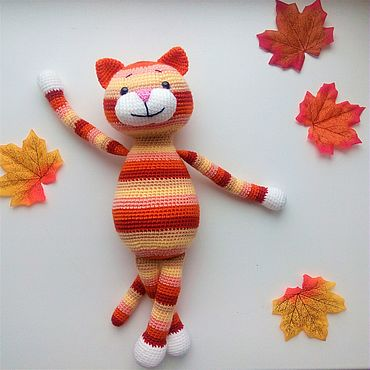 Dolls & toys. Livemaster - original item Striped cat knitted Soft toy Red cat. Handmade.