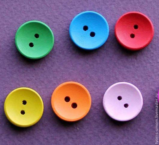 Шитье ручной работы. Ярмарка Мастеров - ручная работа. Купить Пуговица деревянная, 15 мм, цветная, на выбор. Handmade. украшения