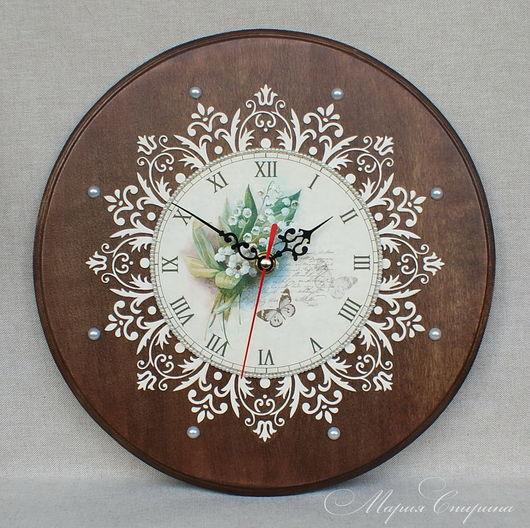 часы настенные, часы круглые, часы для дачи, часы интерьерные, купить часы, ландыши, часы с ландышами, интерьер дачи, часы большие, часы для кухни, часы большие, загородный дом, маша спирина