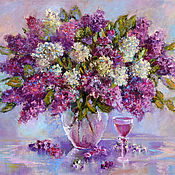 Картины и панно handmade. Livemaster - original item Oil painting on canvas lilac flowers, a bouquet of flowers in a vase