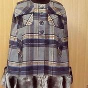 Одежда handmade. Livemaster - original item Cape plaid with fur. Handmade.