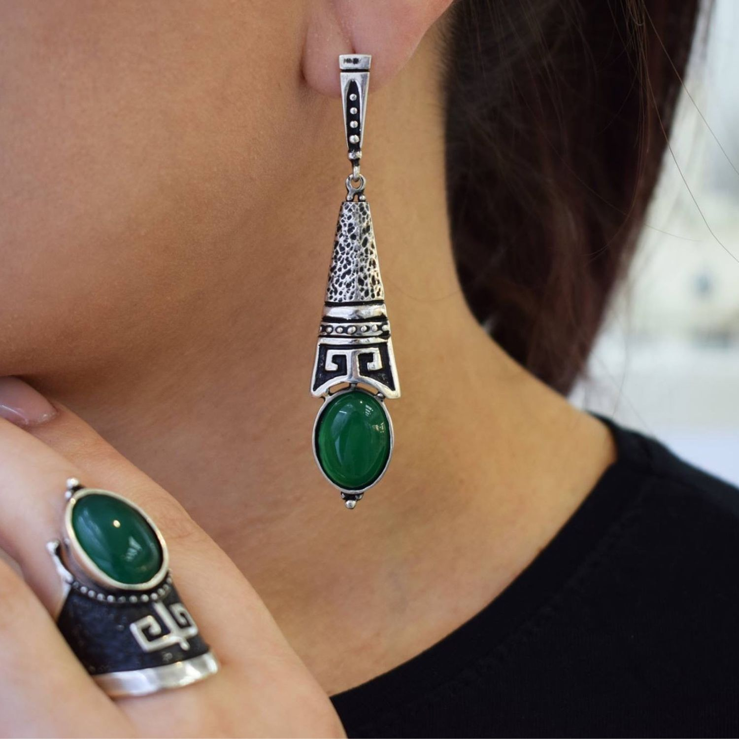 ArMa.  Earrings and ring with jade in silver, Jewelry Sets, Moscow,  Фото №1