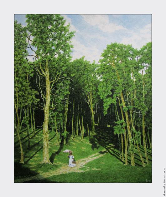 Пейзаж ручной работы. Ярмарка Мастеров - ручная работа. Купить Прогулка по солнечному лесу. Handmade. Зеленый, акварельная живопись