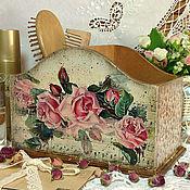 """Для дома и интерьера ручной работы. Ярмарка Мастеров - ручная работа подставка-короб """"Мелодия роз"""". Handmade."""