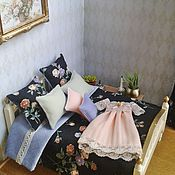 Куклы и игрушки handmade. Livemaster - original item Curtains and bed linen for Dollhouse Accessories for dolls. Handmade.