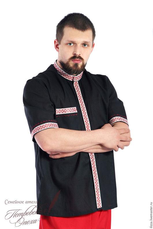 Одежда ручной работы. Ярмарка Мастеров - ручная работа. Купить летняя рубашка в русском стиле 5. Handmade. Черный