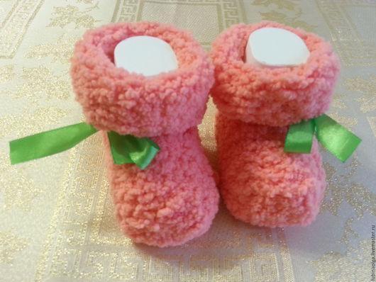 Для новорожденных, ручной работы. Ярмарка Мастеров - ручная работа. Купить Пинетки-носочки. Handmade. Розовый, теплые носочки