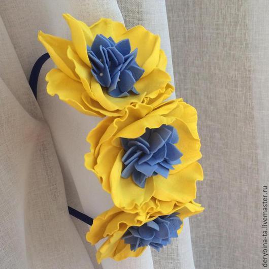 Диадемы, обручи ручной работы. Ярмарка Мастеров - ручная работа. Купить Ободок с желтыми цветами и синей гортензией. Ободок из фоамирана.. Handmade.