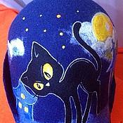 """Для дома и интерьера ручной работы. Ярмарка Мастеров - ручная работа Шапка банная """"Черная кошка при желтой луне"""". Handmade."""