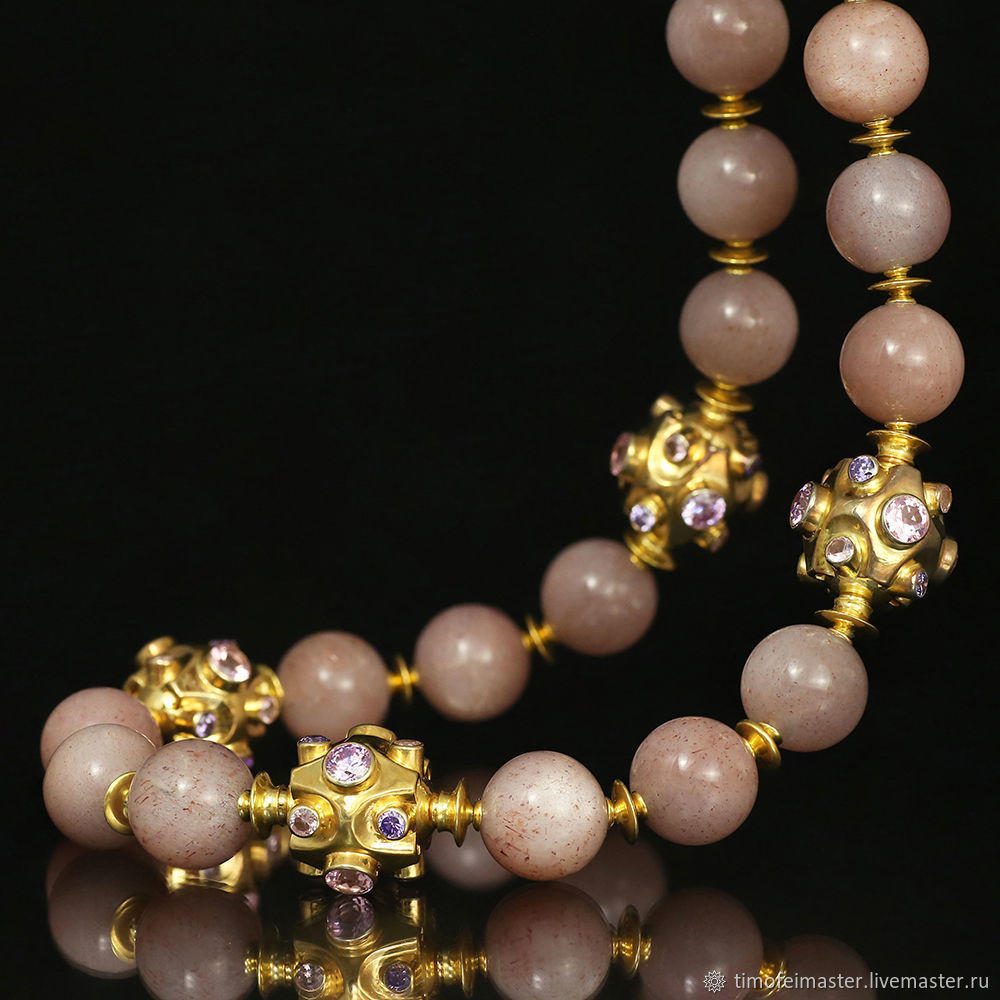 Ожерелье с лунным камнем. Колье персиковый лунный камень, Колье, Москва,  Фото №1