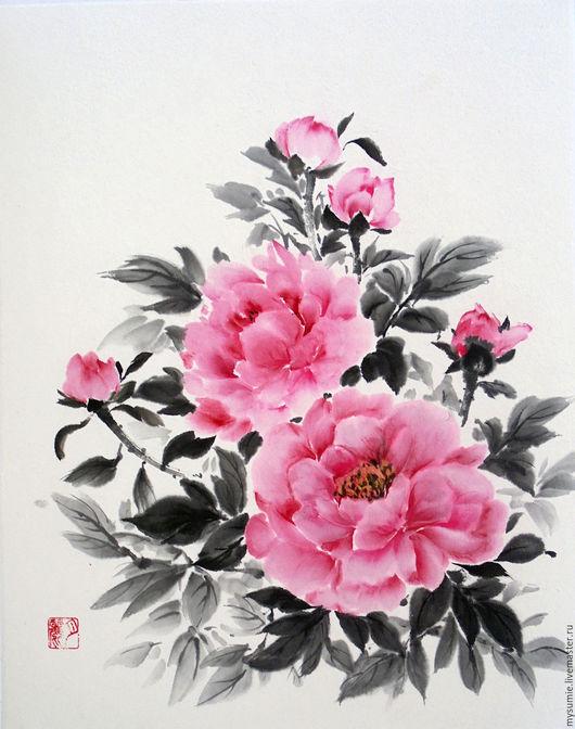 Картины цветов ручной работы. Ярмарка Мастеров - ручная работа. Купить Пионы. Handmade. Комбинированный, японская живопись, акварель