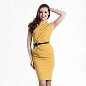 Одежда ручной работы. Ярмарка Мастеров - ручная работа 185: летнее платье офисное, платье с драпировкой, желтое. Handmade.